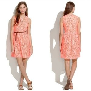 Madewell Lace Blossom Dress Neon Orange Floral